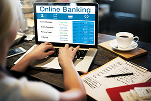 woman logging into online banking