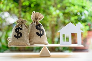 scale balanced with money bags and home cutout