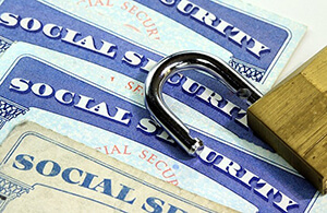 social security cards with lock on them