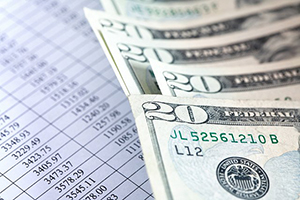twenty dollar bills over spreadsheet
