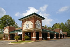 retail building with large clock