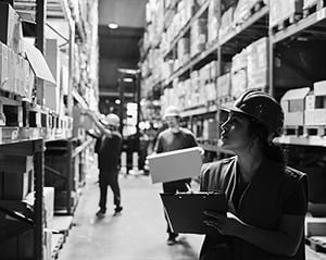 woman working in manufacturing warehouse