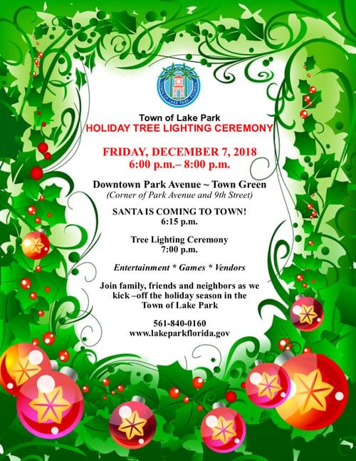 Holiday Tree Lighting Ceremony Flyer 2018