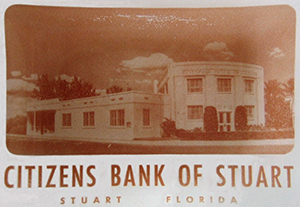 sepia toned photograph of citizens bank of stuart