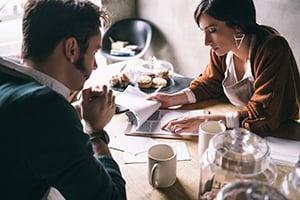business meeting in restaurant