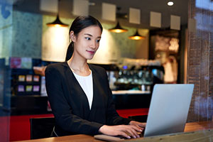smart businesswoman on laptop