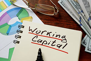 notepad with working capital written down